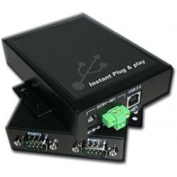 USB Industrial sériový port 2xRS232 DB9, kovový box